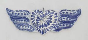 Ornament Heart w/wings Blue and White