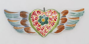 Ornament Heart w/wings Multicolors
