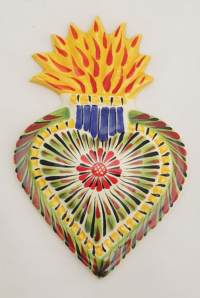 Ornament Sacred Heart Yellow-Red Colors