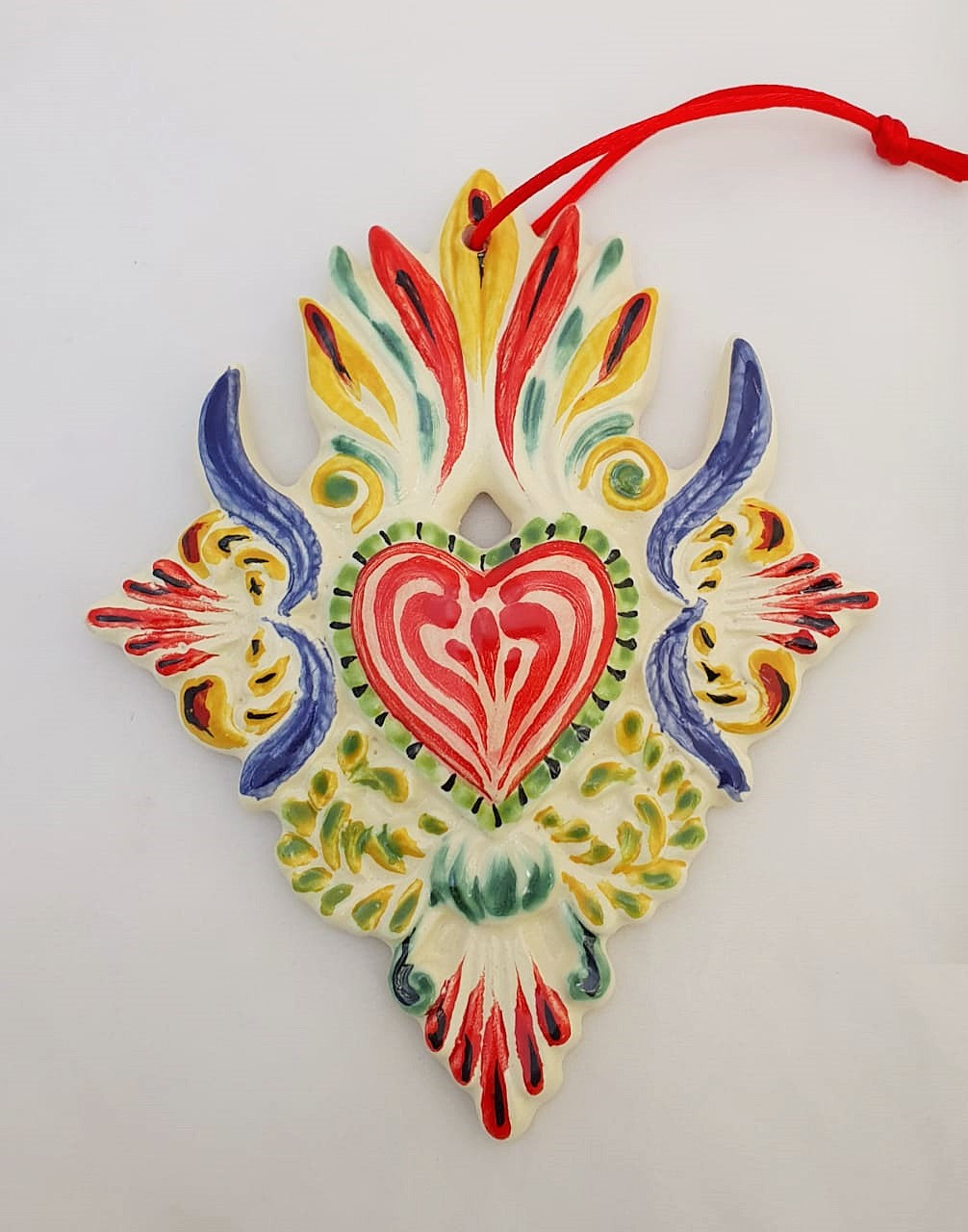 Ornament Large Heart Red-Blue Colors