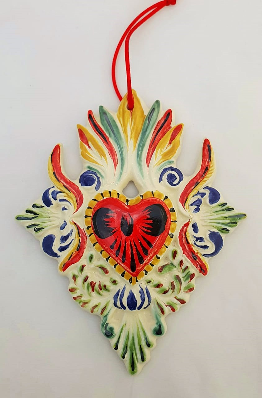 Ornament Sacred Heart Red-Black Colors