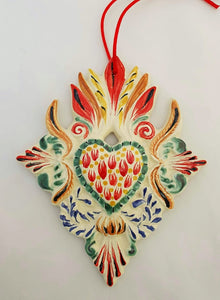 Ornament Sacred Heart Red-Green Colors