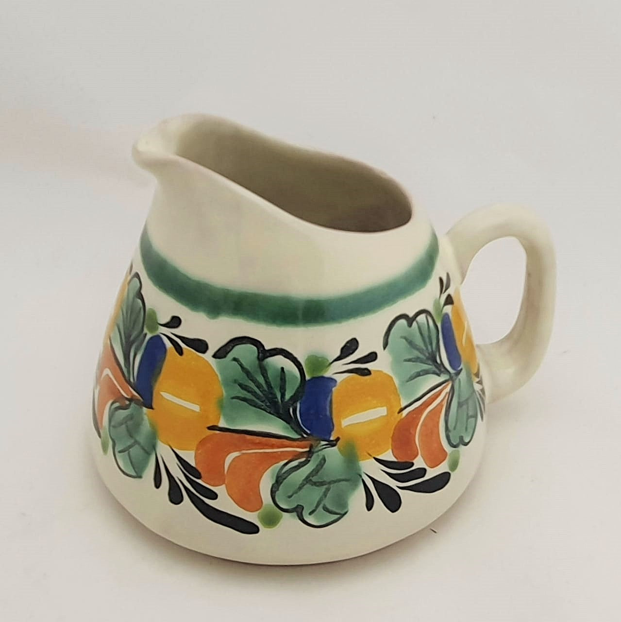 Creamer Pitcher 13.5 Oz Traditional Border Yellow-Green-Blue Colors