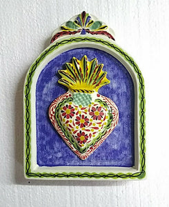 "Sacred Heart AltarPiece 8.9"" Height Blue-Yellow Colors"