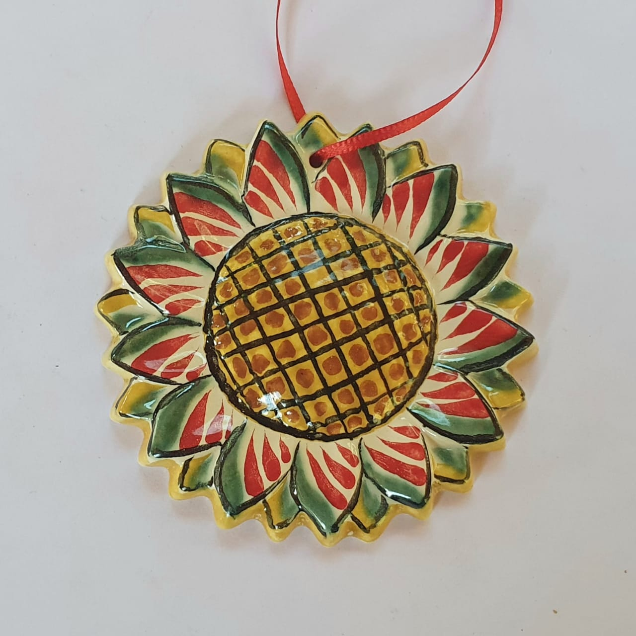 Ornament SunFlower Green-Red-Yellow Colors