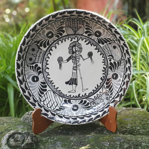 "Live & Dead Round Platter 13"" D Black and White 1 piece in Stock"