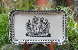 "Catrina Tray Rectangular Platter 10.6x16.9"" Black and White"