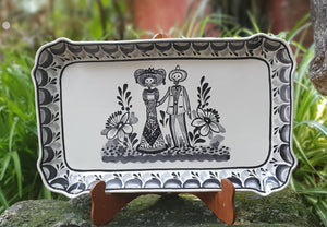 "Catrina Tray Rectangular Platter 10.6 X 16.9 "" Black and White 1 piece in Stock"