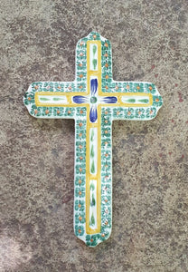 "Medium Decorative Ceramic Cross 9"" Height Green"