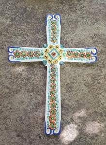 "Large Paint Cross 13"" Height Green-Blue Colors"