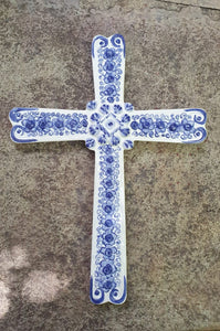 "Large Paint Cross 13"" Height Blue"