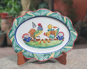 "Rooster Family Tray Cut Flat Platter 11.4*15.4"" L Green-Blue Colors"