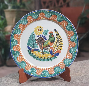 "Rooster Family Round Flat Platter 13.8"" D Green-Terracota Colors"