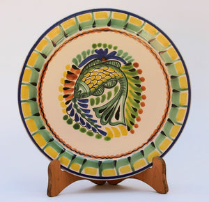 "Fish Salad Plate in Colors 8.7"" D Yellow-Green Colors"