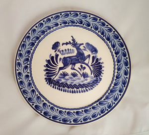 "Deer Decorative / Serving Flat Platter 13.8"" D Blue Colors"