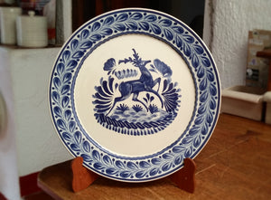 "Deer Round Flat Platter 13.8"" D Blue Colors"