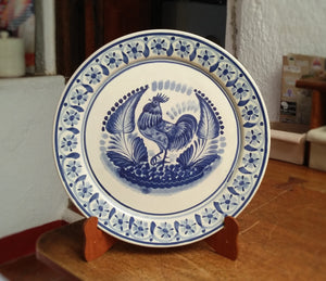 "Rooster Round Flat Platter 13.8"" D Blue Colors"