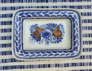 "Butterfly Rectangular Bowl 11*7.9"" Blue-Orange Colors"