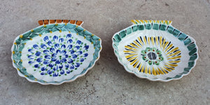 Shell Dish Plate 4.7*5 inches Green-Blue-Yellow Colors Set (2 Pieces)