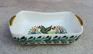 Bird Mini Rectangular Bowl 7.7*5.3 inches Green-Terracota Colors - Mexican Pottery by Gorky Gonzalez