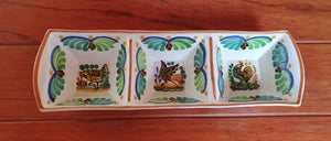 "Animals Triple Rectangular Dish 14.8*4.5"" MultiColors - Mexican Pottery by Gorky Gonzalez"