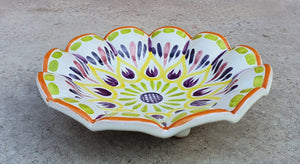 "Flower Footed Snack Dish 7"" D Purple Colors"