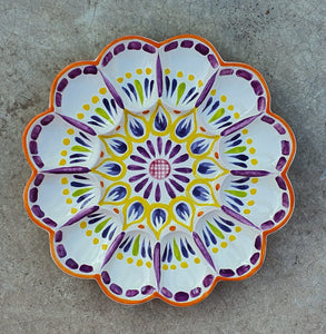 "Deviled Eggs / Snack Plate 10"" D Purple-Yellow Colors"
