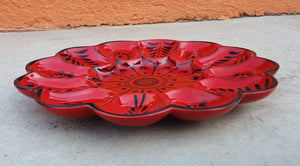 "Deviled Eggs / Snack Plate 10"" D Red Contemporary"
