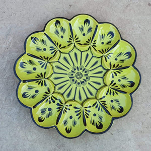 "Deviled Eggs / Snack Plate 10"" D  Green Contemporary"