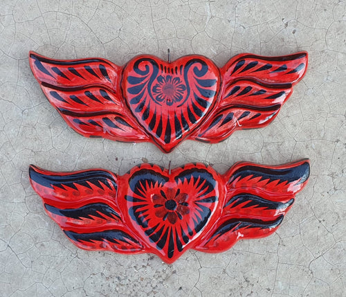 Ornament Heart w/wings Red-Black Set (2 pieces)