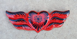 Ornament Heart w/Wings Red-Black Colors