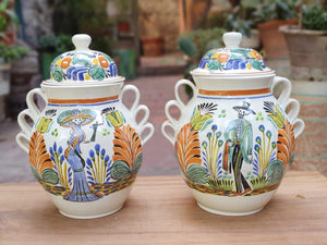 "Catrina & Catrin Decorative Vase 15.8"" Height Set (2 Pieces) Green-Blue-Yellow Colors - Mexican Pottery by Gorky Gonzalez"