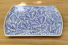 "Tray / Platter 14*10.4"" Milestones Pattern Blue Colors"