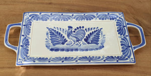 "Rooster Tray 6.9 X 15"" Blue Colors"