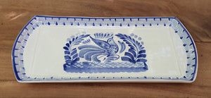"Bird Large Tray 14 x 6"" Blue Colors - Mexican Pottery by Gorky Gonzalez"