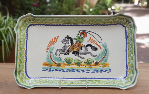 CowBoy Tray Rectangular Platter 10.6 X 16.9 in Green-Terracota-Blue Colors