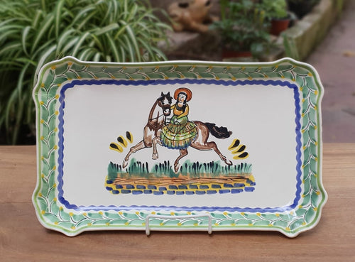 CowGirl Tray Rectangular Platter 10.6 X 16.9 in Green-Terracota-Blue Colors