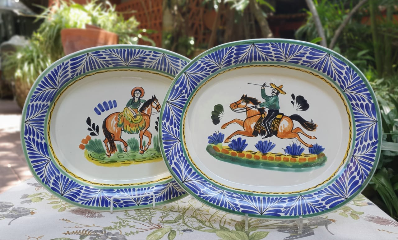 CowBoy and CowGirl Tray Semi Oval Platter 16.9x13.4