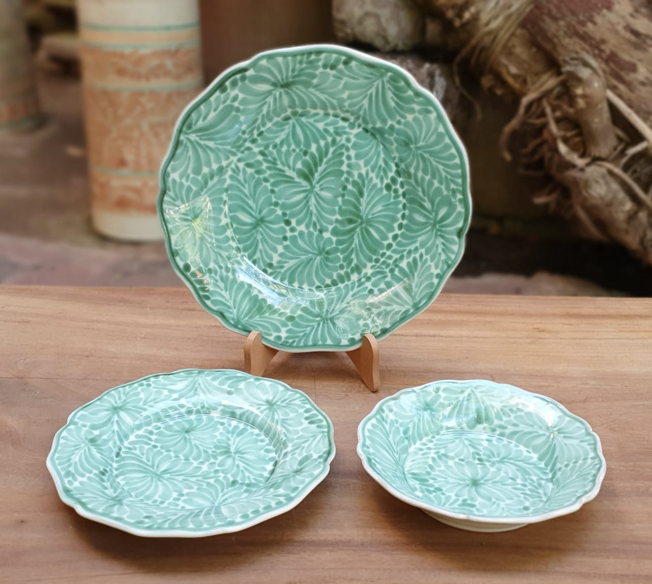 Flower Shape Dish Set (3 Pieces) Milestones Green Colors (One Service)