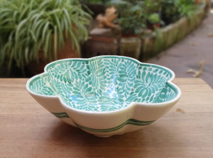 "Flower Salad Bowl 10"" D x 3.5"" H Green Colors"