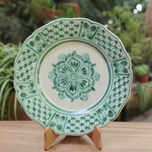 "Flower Pattern Flower Shape Dinner Plate 11"" D Green Colors"