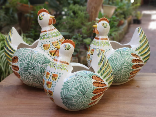 Chicken Decorative Vase Set(3) pieces Green-Terracota-Black Colors