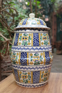 "Decorative Vase (Barril) 20.5"" Heigth Special Pattern"