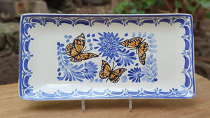 "Butterfly Tray Large Rectangular Plate 7.5x15"" Blue - Mexican Pottery by Gorky Gonzalez"