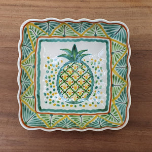 "PineApple Square Salad Bowl 8.7*8.7"" Green-Yellow colors"