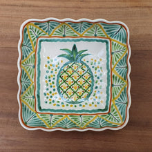PineApple Rectangular and Square Salad Bowl Set (2 pieces) Green-Yellow Colors
