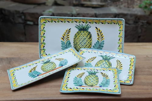PineApple Tray Set (4 pieces) Green-Yellow Colors