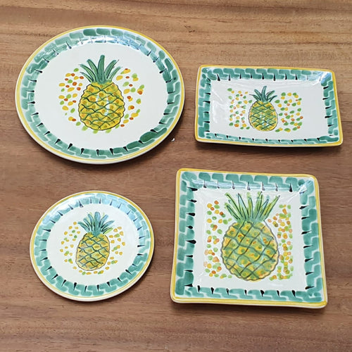 PineApple Bread Plates / Tapa Plate Set (4 pieces) Green-Yellow Colors