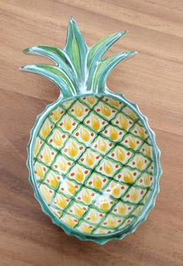 "PineApple Large Snack Bowl 9X5"" Green-Black Colors"