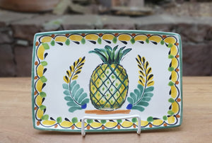 "PineApple Tray 9.8X6.7"" Green-Yellow Colors"